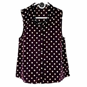 FOREVER 21 Blouse polka dot black white sleeveless